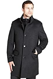 Big & Tall Collezione Wool Blend Double Collar Check Jacket
