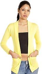 TeeMoods Full Sleeve Cotton Yellow Shrug
