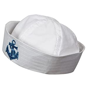 Sailor Doughboy Hat With Sequin Anchor Outfit Accessory