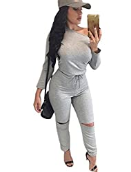 Aro Lora Women's One-shoulder Casual Wear Ripped Sport Jumpsuits Rompers