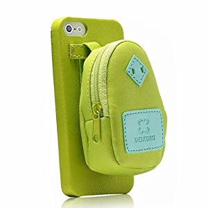 Creative backpack storage leather phone case for iphone 5 5s green