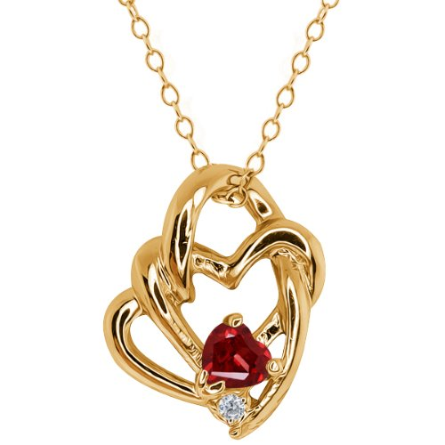 0.37 Ct Heart Shape Red Garnet and Topaz Gold Plated Silver Pendant