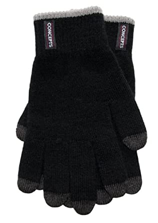 Concepts Unisex Acrylic Black Touch Screen Gloves Charcoal Trim Small