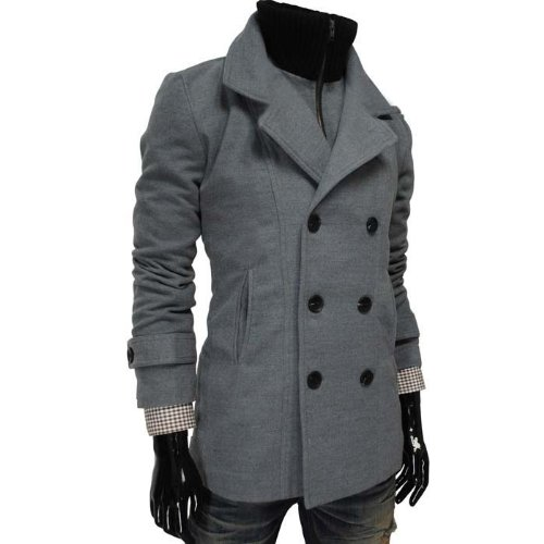 GL Fashions Men's Double Breasted High Neck Inner Padding Coat/Jacket - Grey - XXL