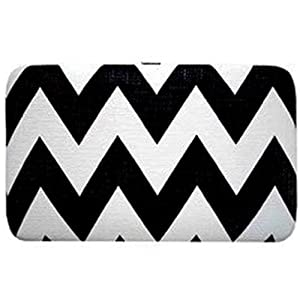 Cute & Trendy! Chevron Zig Zag Print Flat Wallet Clutch Purse (Black)