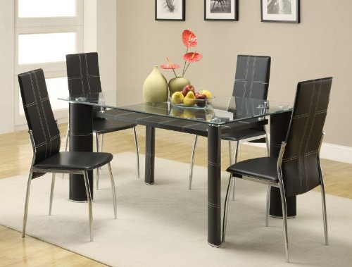 Cheap 5445-605 Wilner Contemporary Glass Top Dining Table Set- 5 Piece (5445-60*5)