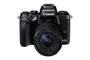 Canon EOS M5 Compact System Camera with EF-M 18 - 150 mm Lens and Adapter - Black