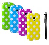 CCLV Polka Dot TPU Flex Gel Cover Case Bundle for Samsung Galaxy S3 MINI I8190 (T-Mobile , AT& T) / 4 Polka Dot TPU Cover Cases (Green, Blue, Hot pink, Yellow) / 1 Stylus Pen (The colors of stylus pen will be random shipments)