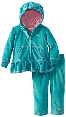 PUMA - Kids Baby-Girls Infant Peplum Hood with Contrast Stretch, Blue, 24 Months