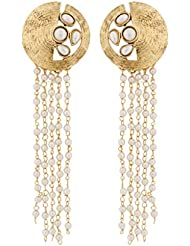 The Jewelbox Designer Long Kundan Pearl Antique Gold Plated Earring For Women