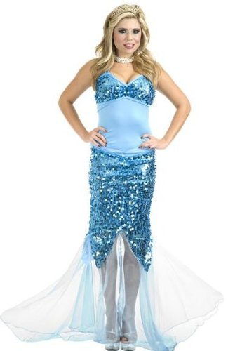 Charades Womens Sexy Blue Sequin Mermaid Dress Halloween Costume