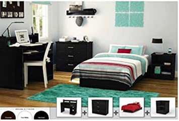 4-piece Home Bedroom Furniture Set, Black. Includes Twin Platform Bed Bed Frame for Your Child, Small Desk Office, 3 Drawer Chest, Nightstand End Table with Two Open Storage Compartment. Made of Wood. Suite Your Studio Apartment. Sale