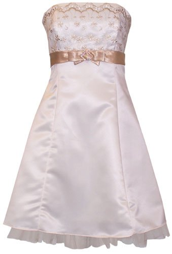 Gold Embroidered Strapless Holiday Formal Bridesmaid Gown Prom Dress With Tulle Junior Plus Size, Large, Ivory