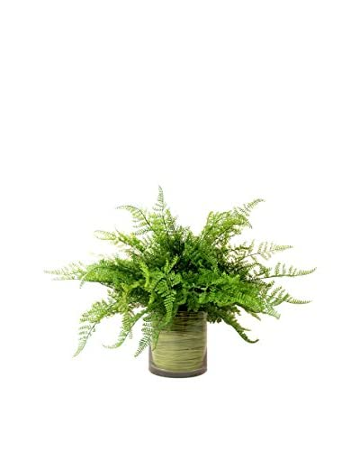 Creative Displays Leather Fern in Green Twine Glass Container, Green