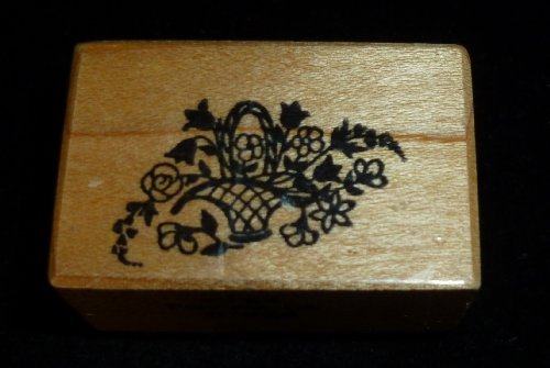 Tiny Basket Of Flowers Rubber Stamp - 1