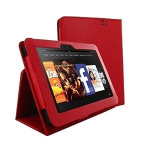 Kindle Fire HD 対応 PUレザーケース スタンド機能付 手帳タイプ Red