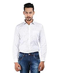 Oxemberg Men's Printed Formal 100% Cotton White Shirt