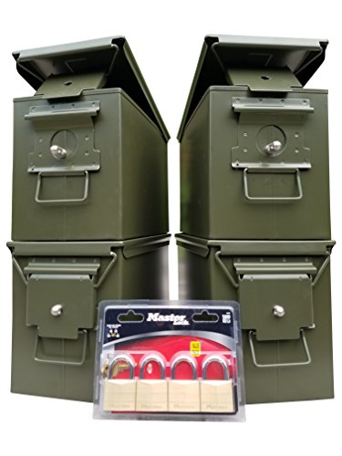 New ACM Blank 50 Cal 4 Pack with Installed Lock Kits and MasterLocks (Ammo Can Lock Kit compare prices)
