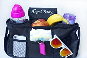 Stroller Organizer Bag - UNIVERSAL, Black, Accessories are Drink INSULATED Cup Holders, DEEPER Pockets, CUSTOM mesh Organiser for Phone - Fits Chicco,Joovy,BOB,UPPABaby Vista,Bugaboo,Eddie Bauer,Phil & Teds,Peg Perego,Umbrella,Graco,Britax & More LIFETIME GUARANTEE
