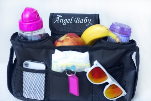 Sale!! Stroller Organizer Bag - UNIVERSAL, Black, Accessories are Drink INSULATED Cup Holders, DEEPE...