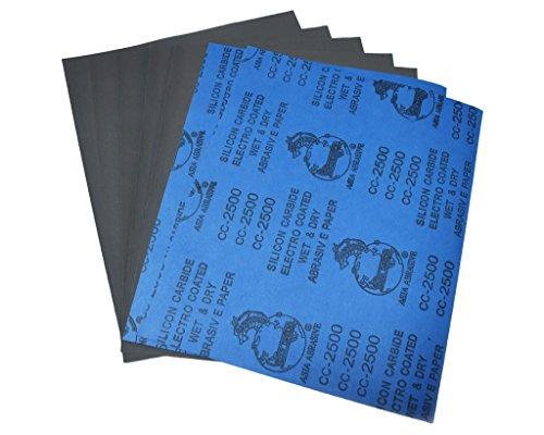 """Confezione da 10 fogli di carta abrasiva 22,86 cm (9"""") 27,94 (11 cm x cm, 230 x 280 mm, grana 2500 in carburo di silicio, umido/asciutto"""