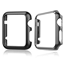Apple Watch Case,TitanFan [Set of Two] Super Thin Polycarbonate Hard Protective PC Plated Cover Case With Slim Premium Aluminum Protective Case For Apple Watch (42mm Apple Watch - Black Set)