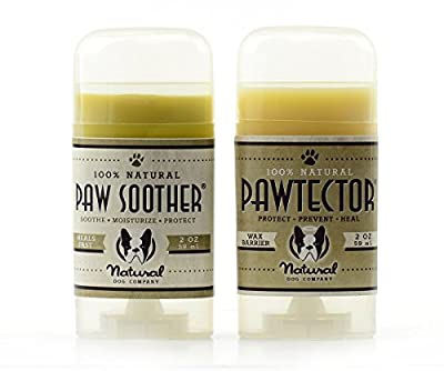 Natural Dog Company Pawdicure Pack | Organic, All-Natural | For Healing Dry/Cracked Dog Paw Pads | Paw Soother 2 oz Stick + PawTector 2 oz Stick