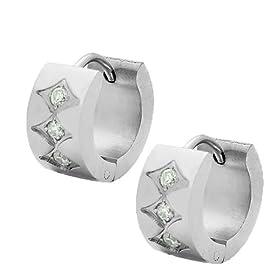 Stainless Steel Silver Tone White Crystals CZ Womens Hoop Huggie Earrings