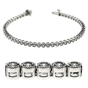 14k White Gold Diamond Millgrain Bracelet - JewelryWeb
