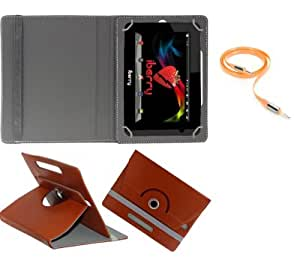 Gadget Decor (TM) PU LEATHER Rotating 360° Flip Case Cover With Stand For HCL ME Y3 + Free Aux Cable -Brown