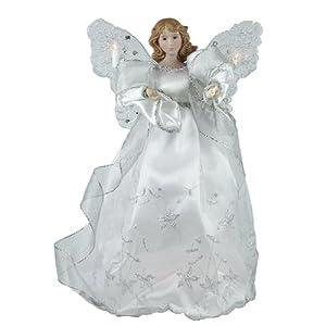 "13"" Elegant Silver and White Lighted Porcelain Angel Christmas Tree Topper"