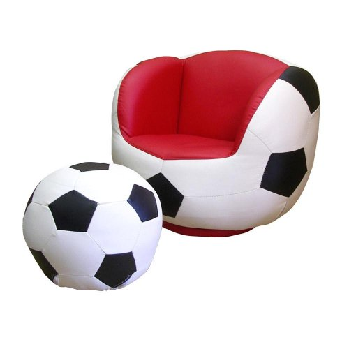 ORE International Kids Soccer Swivel Chair and Ottoman Set