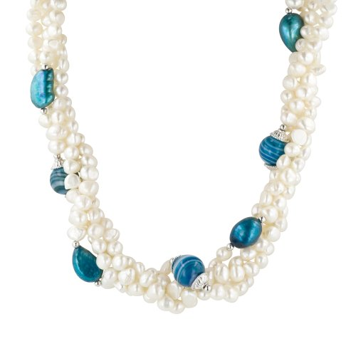 Sterling Silver Freshwater Cultured Pearl and Blue Agate Necklace, 18+2