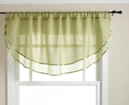 Stylemaster Elegance 60 by 24-Inch Sheer Voile Ascot Valance, Citrus
