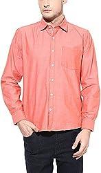 Y.U.V.I. Men's Cotton Regular Fit Casual Shirt (11112958-XXL, Orange, XX-Large)