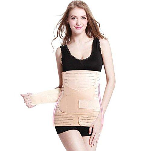 Best Value® 3in 1invisibile Cesareo Recupero pancia dopo il parto pancia dimagrante Shapewear fascia a righe cintura Beige Nude Large Size