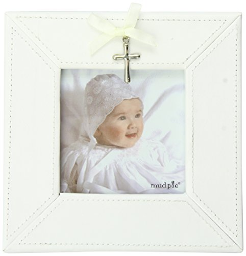 Mud Pie Baby Classic Keepsakes Cross Charm Photo Frame, White - 1