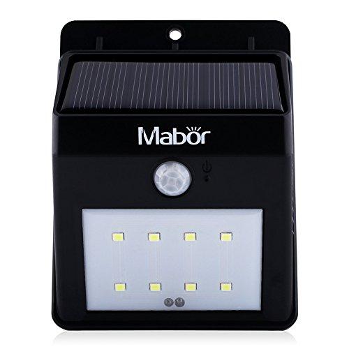 mabor solar lights 8 led waterproof motion sensor wall light for