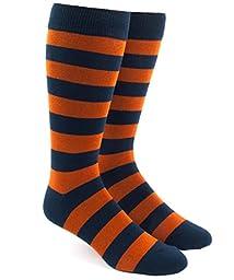 Super Stripe Orange Cotton Blend Dress Socks