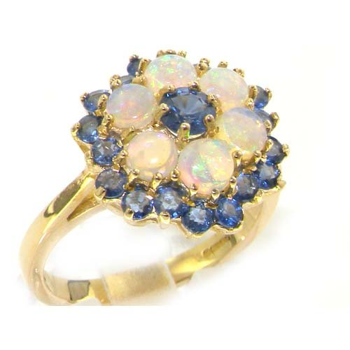 9ct Yellow Gold Ladies Ceylon Sapphire & Opal Cocktail Ring - Size L - Finger Sizes L to Z Available - Suitable as an Anniversary, Engagement or Eternity ring