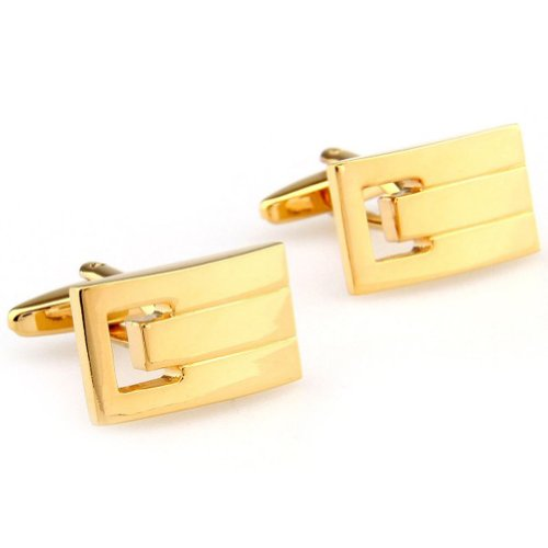 Beour White-gold-plated-silver Gold Rectangle Copper Stylish Cufflinks for men