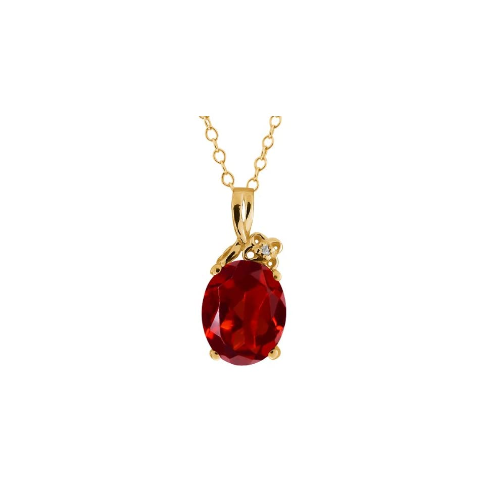 2.86 Ct Oval Red Garnet and White Topaz 10k Yellow Gold Pendant