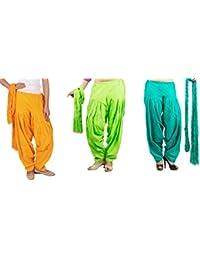 Rama Full Patiala Salwars With Dupattas Combo Of 3 ( Yellow, Lime Green, Light Green_Free Size)