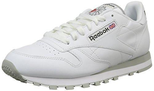 Reebok CL LTHR 28412 - Sneaker classiche uomo, Bianco (White/Lt. Grey), 41
