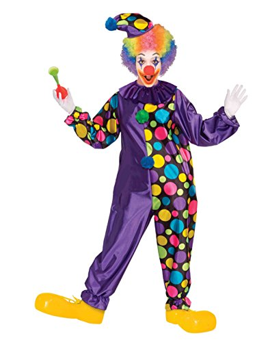 Adult Unisex Big Top Clown Costume Purple Polka Dot Jumpsuit Collar Hat