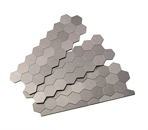 Aspect Peel and Stick Backsplash 12inx4in Honeycomb Stainless Matted Metal Tile Sample for Kitchen and Bathrooms