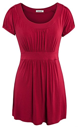 Ninedaily Women Short Sleeve Draped T-shirt Scoop Neck Flattering Tunic Tops (Babydoll Tops For Women compare prices)
