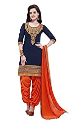 Youth Mantra Women's embroidered Cotton dark blue dress materials