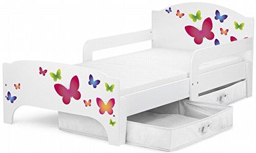 Moderne Lit d'Enfant Toddler motif Papillons Lit pour enfant avec rangement + matelas