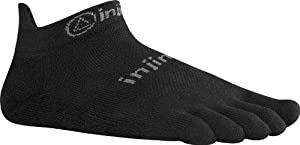 Injinji 2.0 Men's Run Lightweight No Show Toesocks, Black, Large